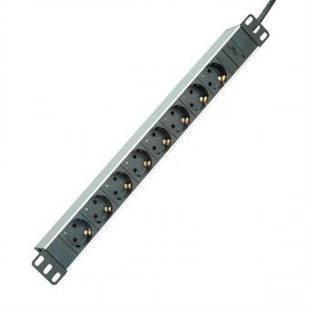 19-Zoll-Steckdosenleiste, 8-fach, C14-Stecker, Aluminium, 2,0m