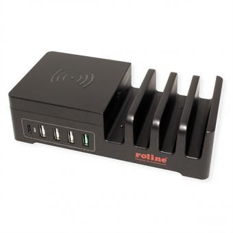 USB Ladestation 5 Ports + Wireless Charging Pad für Mobilgeräte, 10W