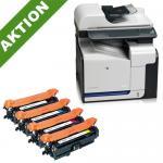 xChange Printer HP Color LaserJet CM3530fs MFP (CC520A) mit 4 SuperCart Toner